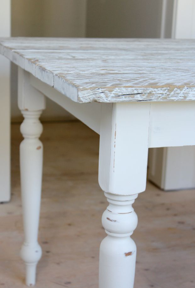DIY White Washed Reclaimed Wood Farmhouse Table - How to white wash a reclaimed wood table - Satori Design for Living