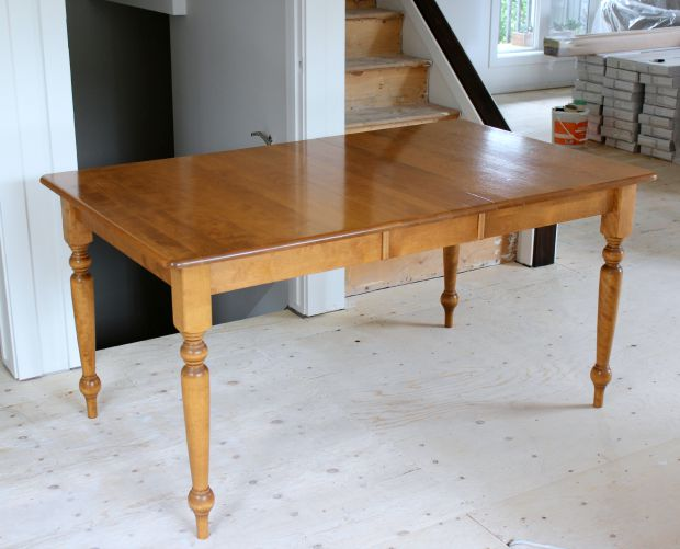 BEFORE- How to Build a Salvaged Wood Farmhouse Table Using an Existing Table, Plus Distressed Whitewashed Finishing Steps - Details at SatoriDesignforLiving.com
