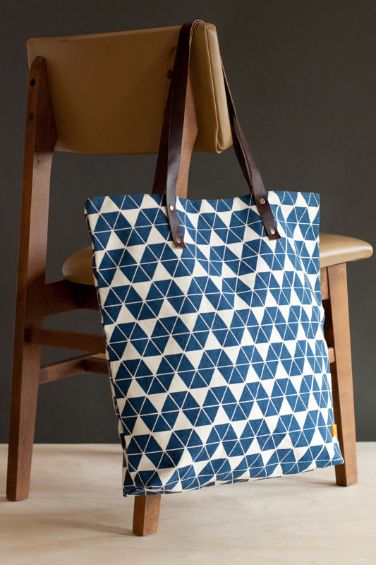 Patterned Canvas and Leather Tote from Dignify