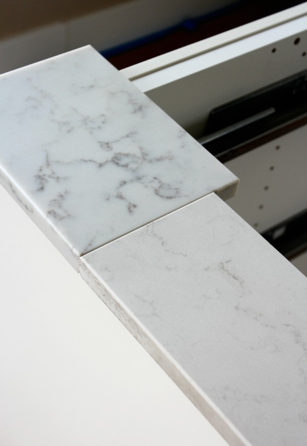 Marble Quartz Countertop Options - TCE Stone 4005 - Frosty Carrina by Caesarstone - Satori Design for Living