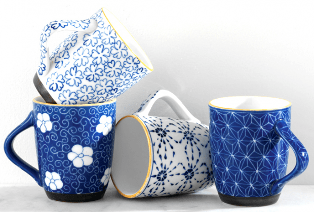 Blue Hand Painted Mugs from Servv