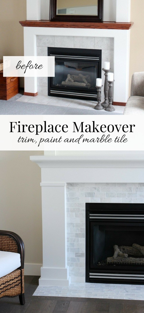 Fireplace Makeover with Subway Tile and MDF Mantel and Trim Painted in Benjamin Moore White Dove