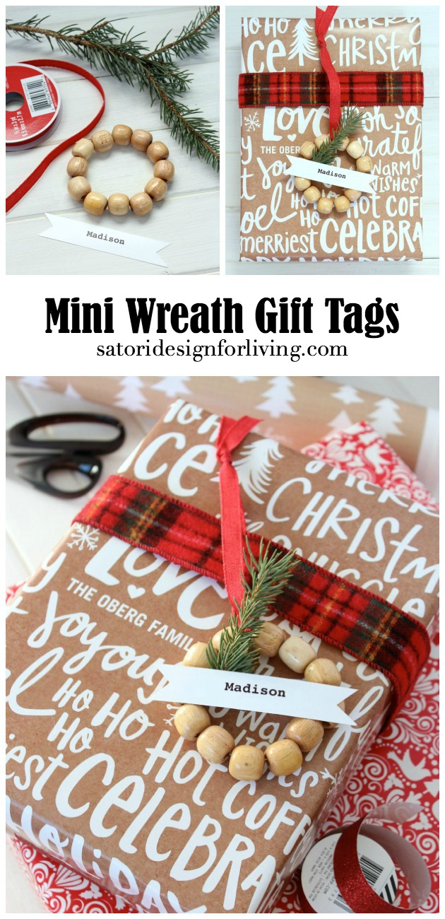 Easy and Inexpensive Mini Wreath Gift Tags to Embellish Christmas Gifts