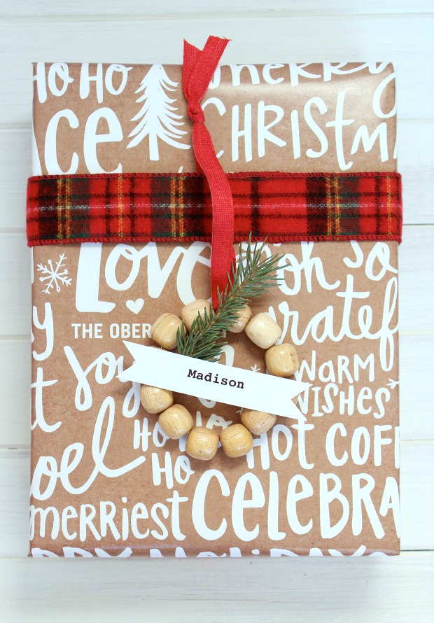 Personalized Christmas Wrapping Paper with Handmade Mini Wreath Gift Tags