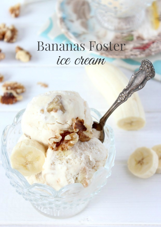 A delicious bananas foster ice cream recipe with swirls of rum-infused caramel, chunks of buttery banana and crunchy walnuts.