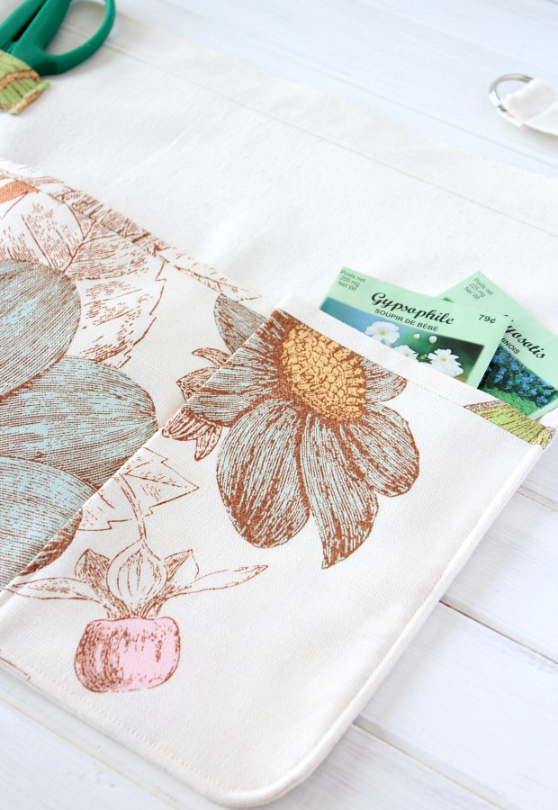 Handmade Apron for Gardening with Floral Pockets and Loop