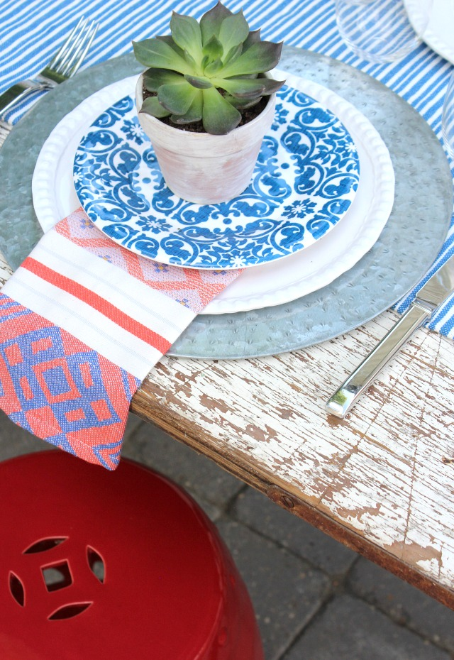 Flea Market Style Outdoor Table Setting with Red Garden Stool - Mini Potted Succulents in Whitewashed Pots