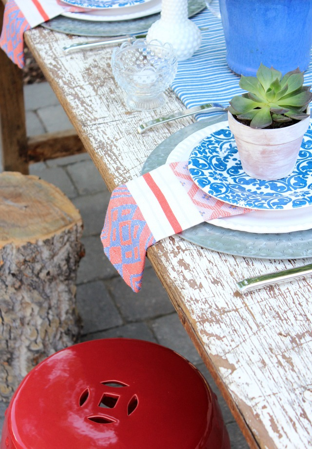 Flea Market Style Outdoor Table Setting - Red, White and Blue Outdoor Decor - Satori Design for Living