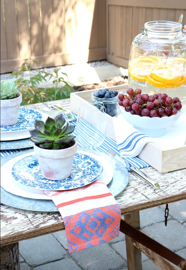 Outdoor Table Setting with Potted Succulents and Thrift Store Finds