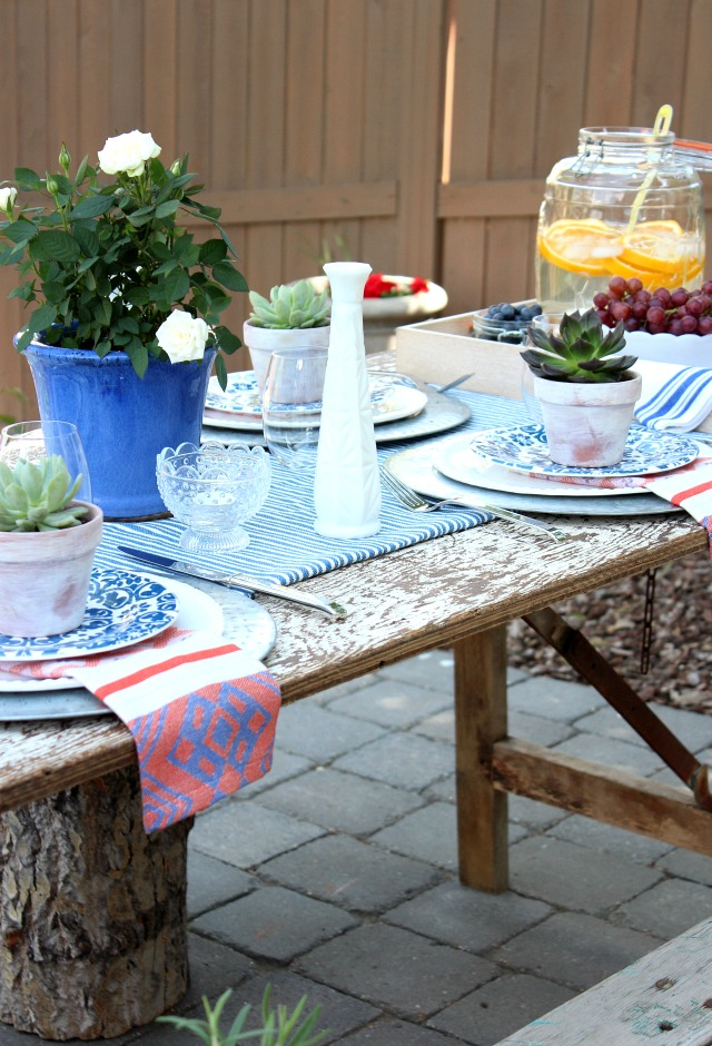 Flea Market Style Outdoor Table Setting with Milk Glass and Boho Decor