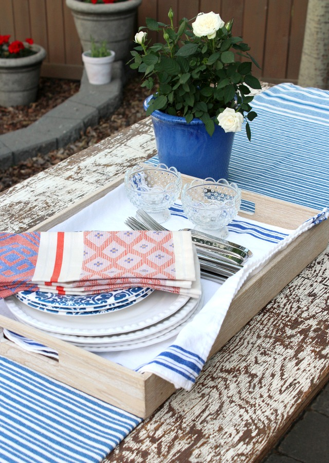 Flea Market Style Outdoor Table Setting - Outdoor Decorating and Entertaining Tips - Satori Design for Living