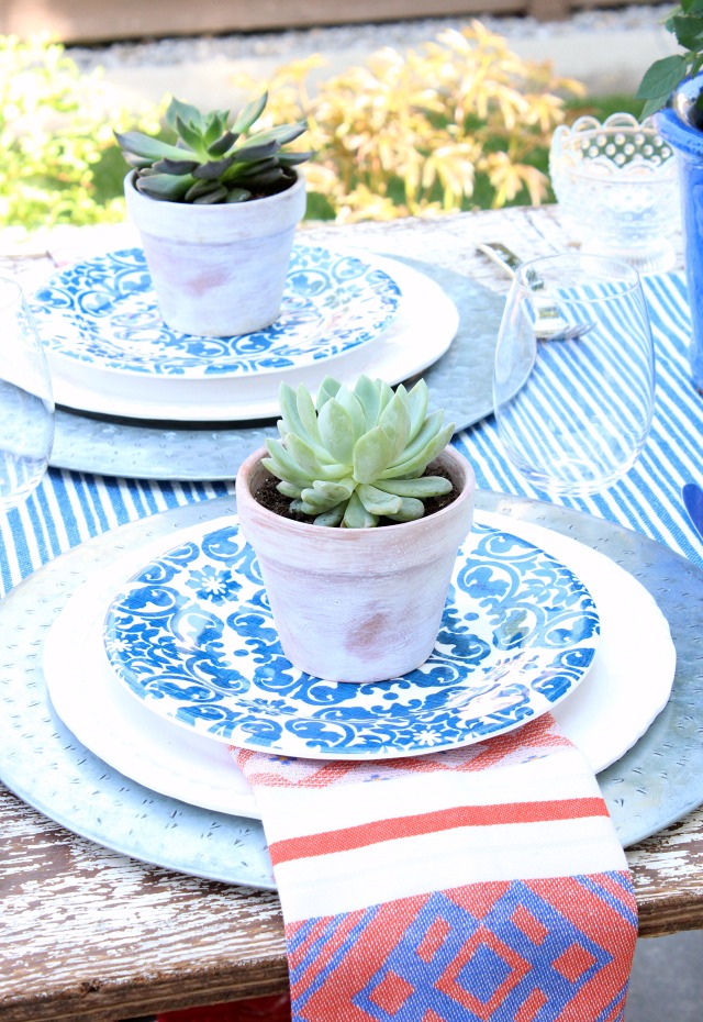 Succulents in Weathered Pots on Outdoor Table