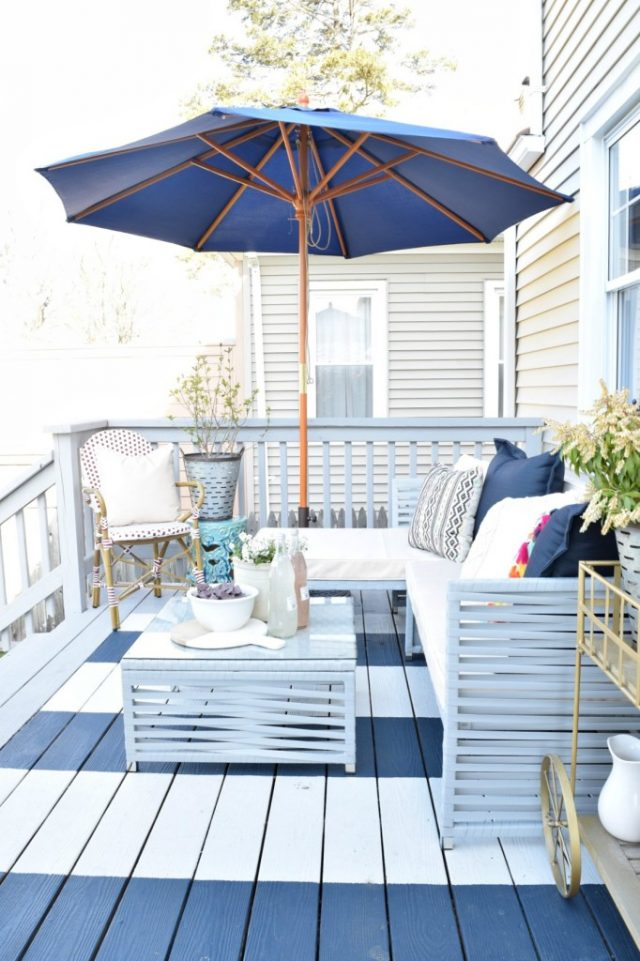 DIY Blue and White Striped Deck - Coastal Inspired Outdoor Decorating Scheme - Nesting with Grace
