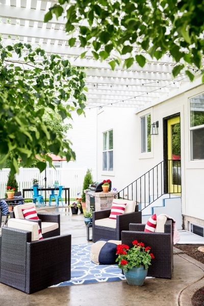 Ideas for Deck & Patio Makeovers - Red, White & Blue Patio Decorating by Emily A. Clark