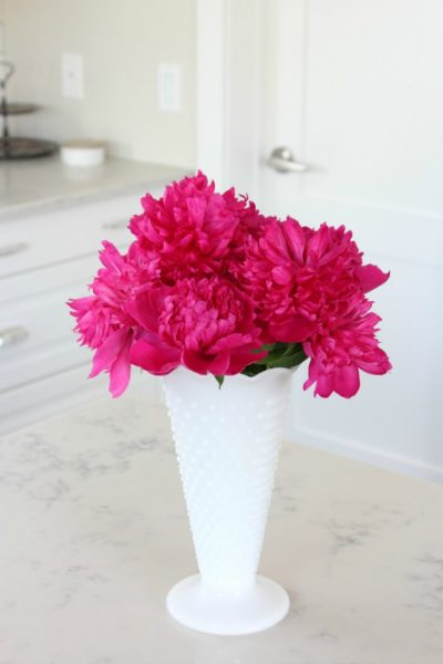 Bright Pink Peonies in Hobnail Milkglass Vase - Satori Design for Living