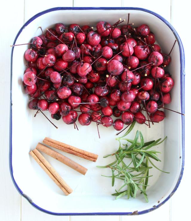 Fall Simmer Pot Ingredients in Enamelware Tray