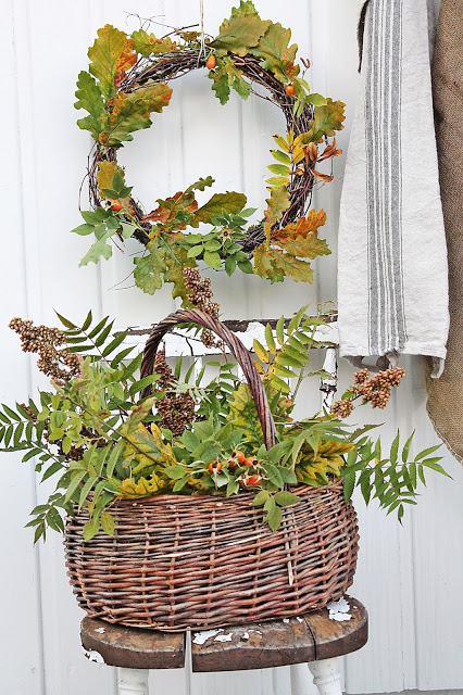 Fall Decorating Ideas Using Nature - Changing Leaves Fall Wreath and Basket Arrangement by Vibeke Design