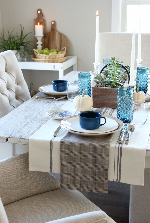 Fall Home Tour - Blue, White and Neutral Casual Table Setting - Satori Design for Living