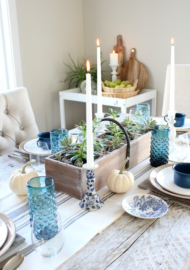 Rustic Fall Dining Room Table Decorated in Blue and White