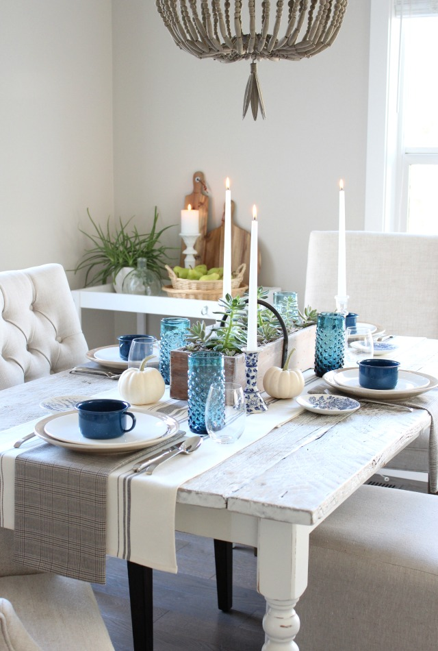 Canadian Fall Home Tour - Blue and White Fall Table Setting with Thrift Shop Finds