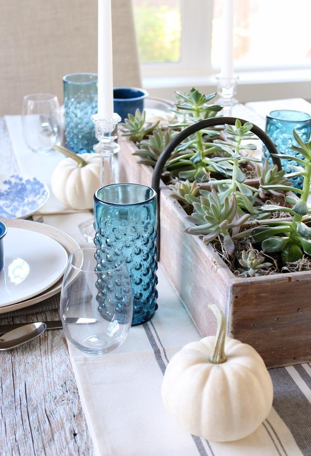Fall Home Tour - Indigo Blue and White Fall Table Decorations - Satori Design for Living