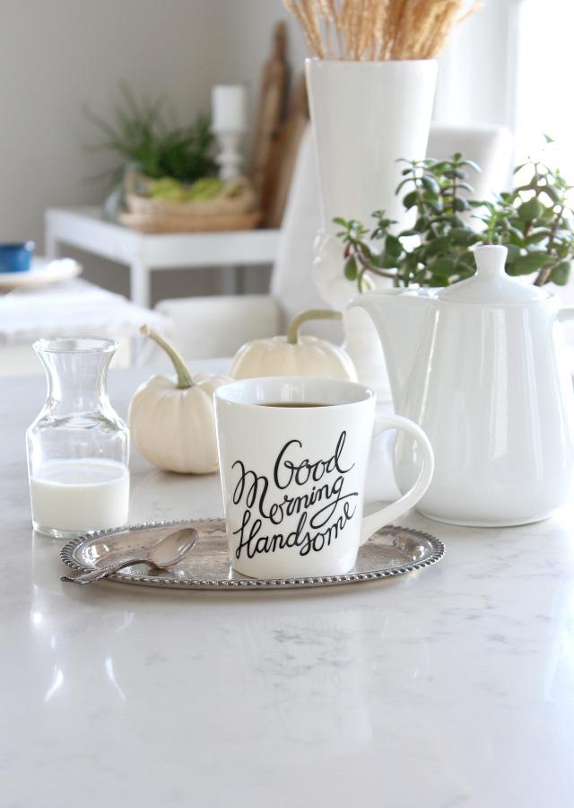 Fall Home Tour - Fall Kitchen Decor - Good Morning Handsome Calligraphy Mug - Satori Design for Living