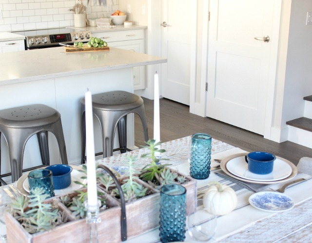 Fall Home Tour - Modern Farmhouse Kitchen and Dining Room - Moody Blue and White Fall Decor - Satori Design for Living