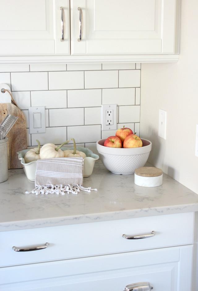 Fall Home Tour - Decorating the Kitchen with Seasonal Produce - White Subway Tile Backsplash - Satori Design for Living