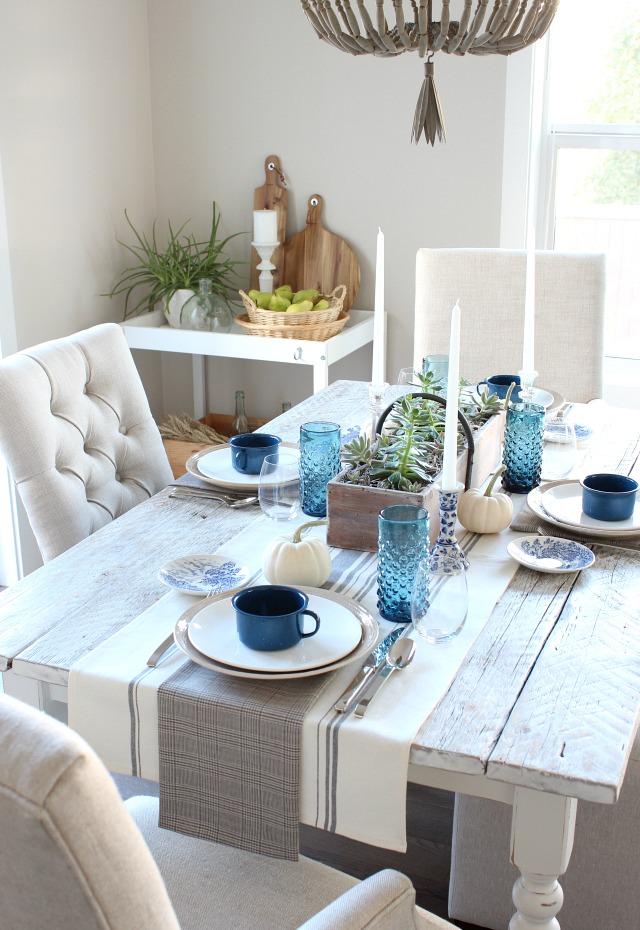 Fall Home Tour - Rustic Indigo Vintage Fall Tablescape - DIY Farmhouse Table - Satori Design for Living