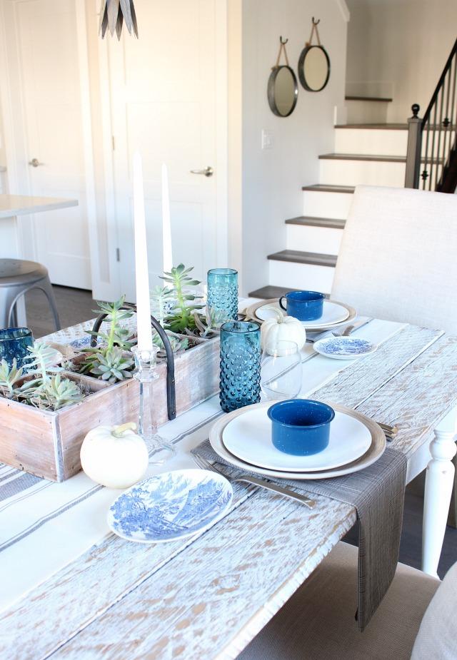 Fall Home Tour - Eclectic Vintage Blue and White Farmhouse Decor - Satori Design for Living