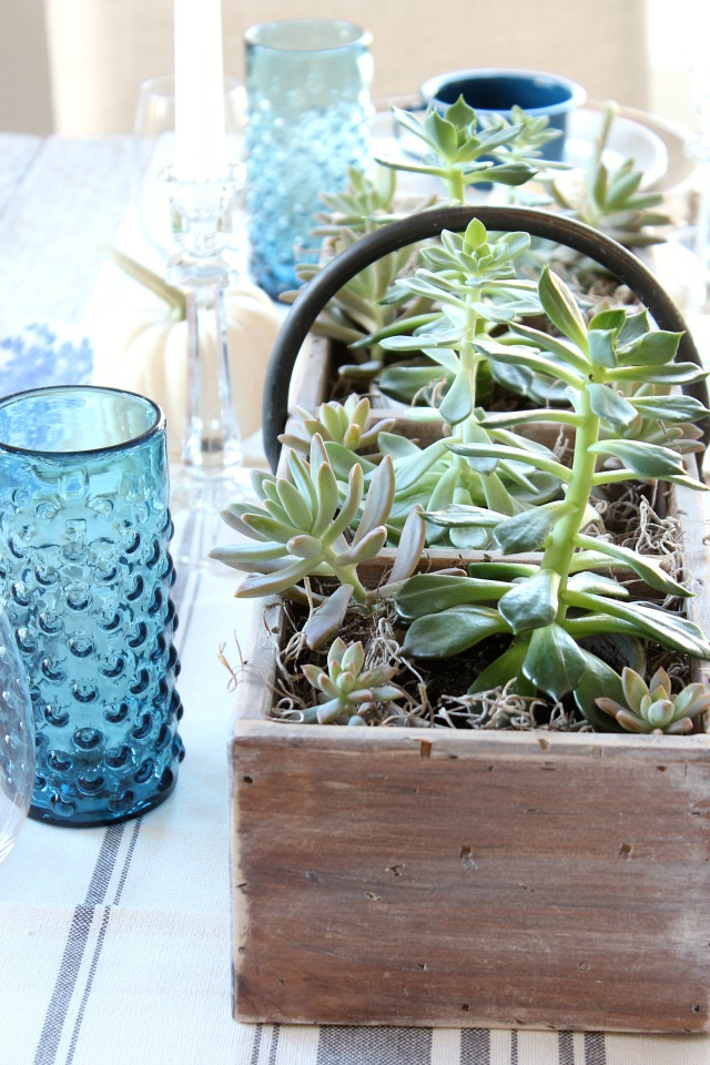 Fall Home Tour - Fall Dining Table Centerpiece with Succulents - Satori Design for Living