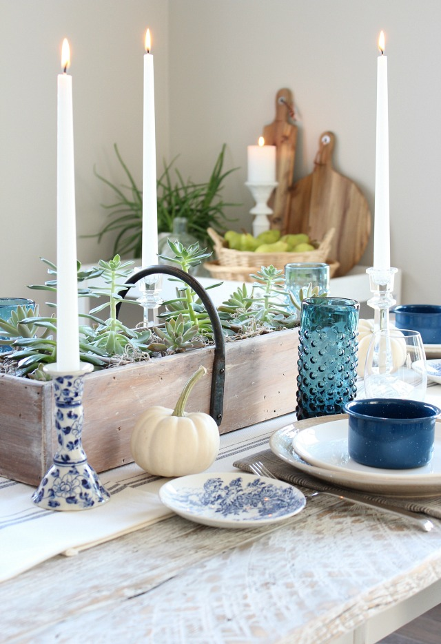 Fall Home Tour - Thrift Shop Dining Room Table Decor - Handpainted Blue and White Candle Holder - Satori Design for Living