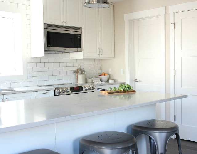 Fall Home Tour - White IKEA Kitchen Cabinets with White Subway Tile Backsplash - Satori Design for Living