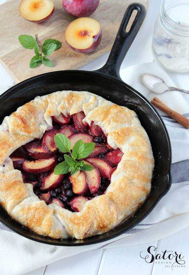 Country Style Plum & Saskatoon Berry Pie - Skillet Galette Recipe - Satori Design for Living