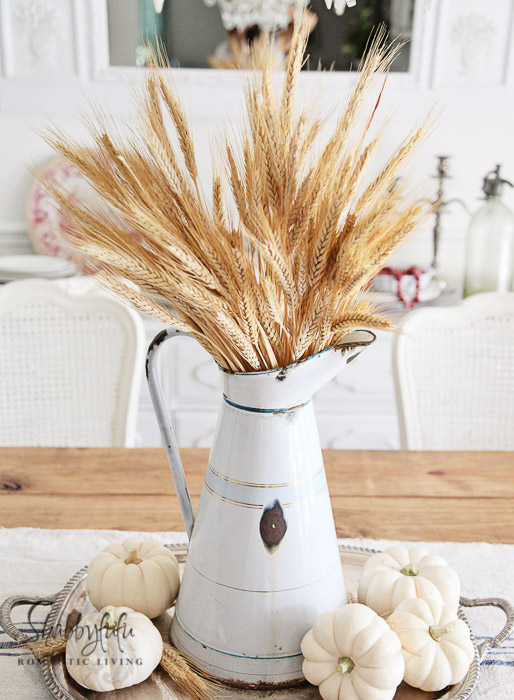 Fall Decorating Ideas Using Nature - Wheat Table Centerpiece with White Pumpkins - Shabbyfufu