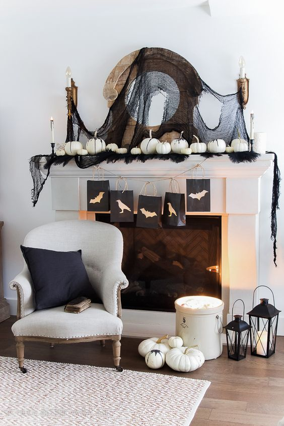 Chic Halloween Decorating Ideas - Classic Black and White Halloween Mantel by So Much Better with Age