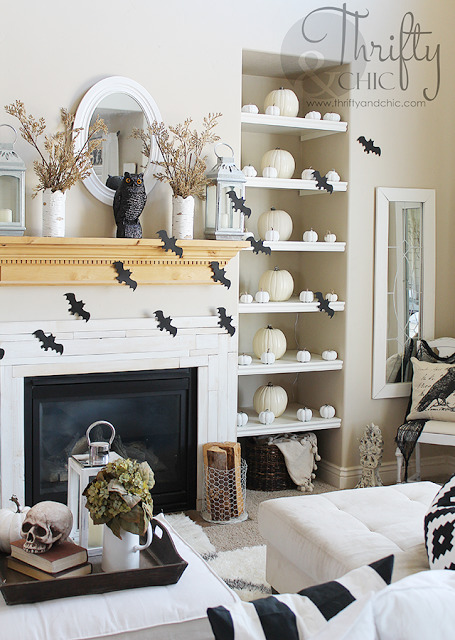 Chic Halloween Decorating Ideas - Black and White Halloween Living Room Decor by Thrifty & Chic