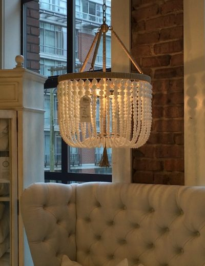 Malibu Beaded Chandelier in Milk by Ro Sham Beaux - Shopping for Dining Room Light Fixtures