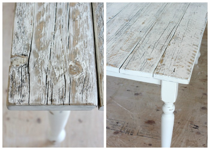 Distressed White Washed Wood Finishing Steps - Rustic Dining Table Finishing Steps by Satori Design for Living