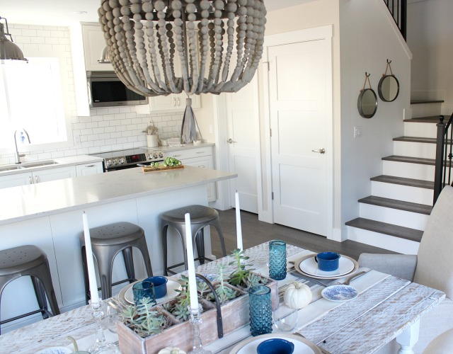 Wood Beaded Chandelier - Modern Farmhouse Style Kitchen and Dining - Satori Design for Living