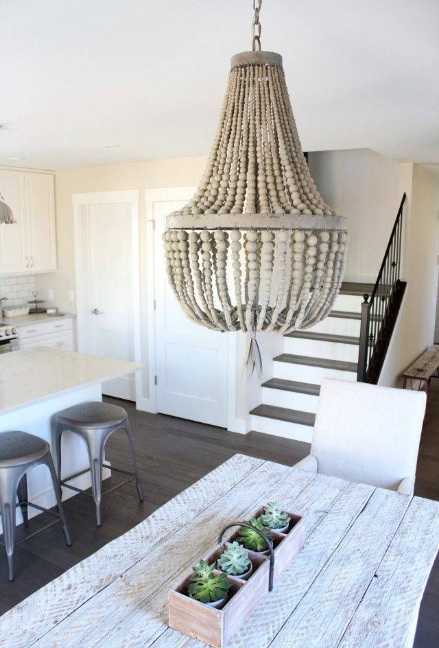 Wood Beaded Chandelier - Modern Farmhouse Kitchen and Dining Area - Satori Design for Living