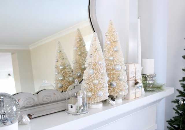 Christmas Mantel with Bottle Brush Trees and Church Cloche Ornament