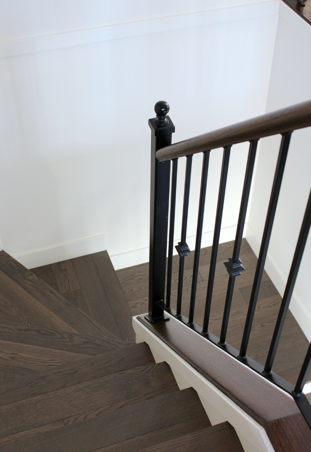 Staircase Makeover - Dark Wood Stair Treads with Iron Railings