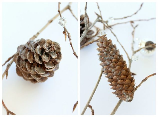 DIY Decorative Twig and Pinecone Christmas Tree Filler Branches