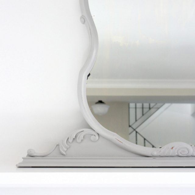 Antique Mirror on Mantel - Mirror Makeover with Grey Chalk Paint