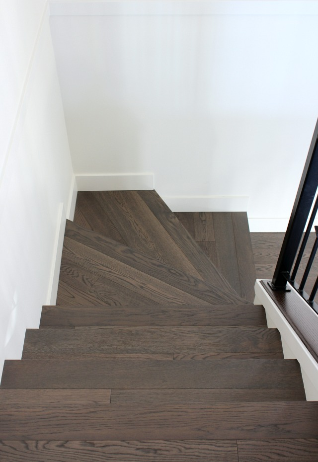 Hardwood Stair Project - Dark Hardwood Treads with White Painted Risers