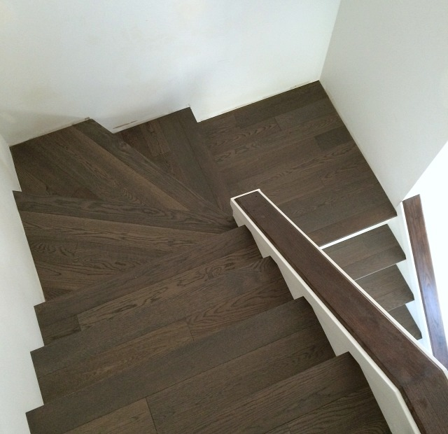 Installing Hardwood Treads and White Risers on Wrap Around Stairs