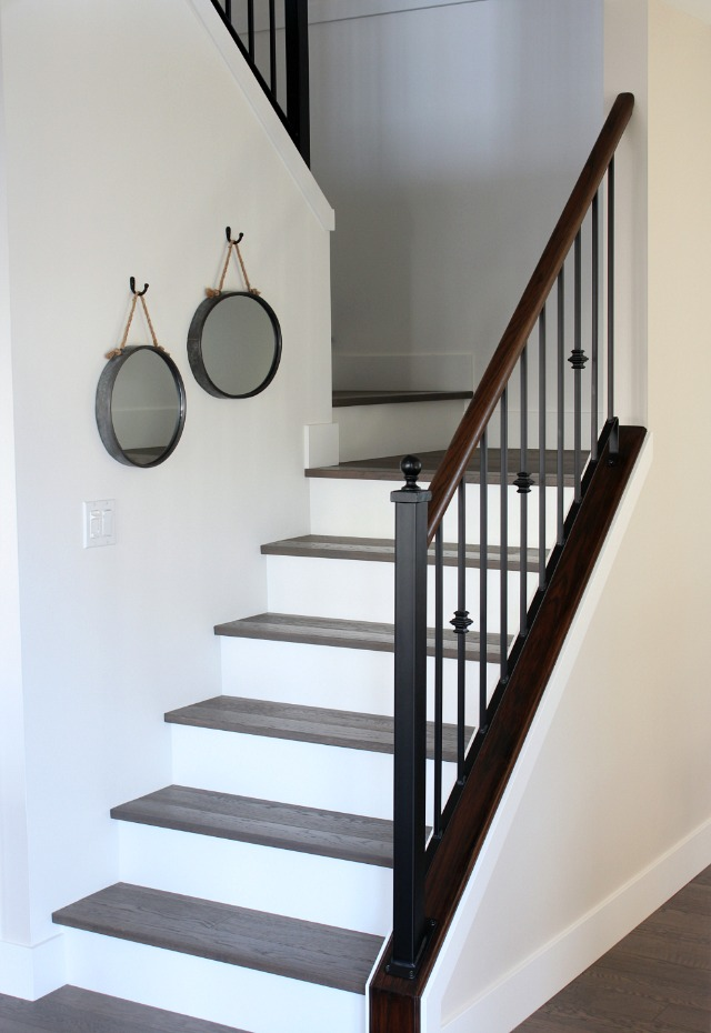 From Carpet to Hardwood Staircase Makeover - Stairs with White Risers and Dark Treads