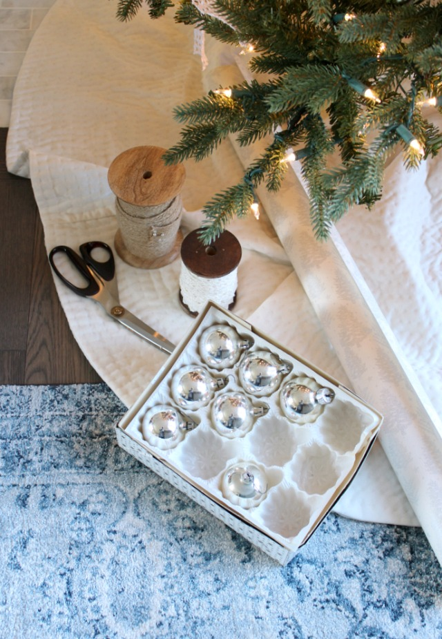 Vintage Christmas Decorations - Silver Ornaments - Decorating with Thrift Shop Finds