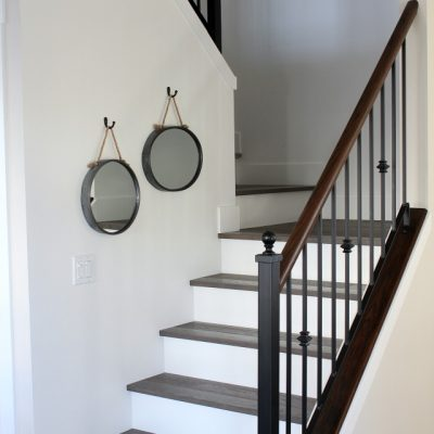 White Oak Hardwood Stairs with Painted Risers